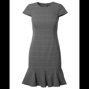 NWT Windowpane Wool Godet Flounce Dress - size 0